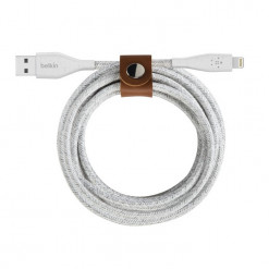 Belkin DuraTek Plus Lightning USB-A Cable + Strap, 3m - white
