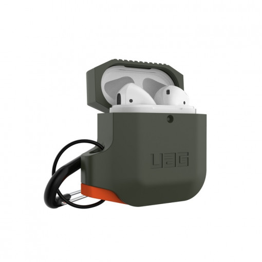 UAG Apple Airpods Silicone Case- Olive Drab/Orange